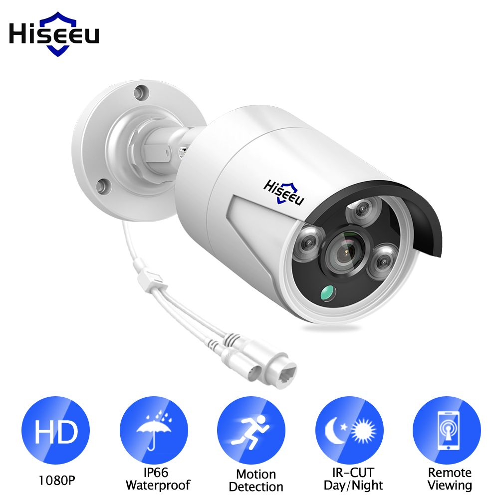 Hiseeu 1080P POE IP Camera <font><b>2.0MP</b></font> Bullet WDR IP Camera Waterproof IP66 indoor Outdoor home security video surveillance ONVIF