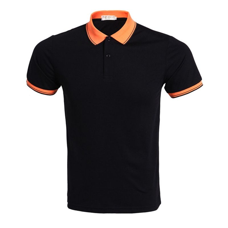 2016 Summer Casual Slim Lapel Stitching Solid Color Short Sleeve Polo Shirt Mens Black Plus Size Polo Shirt S-3XL