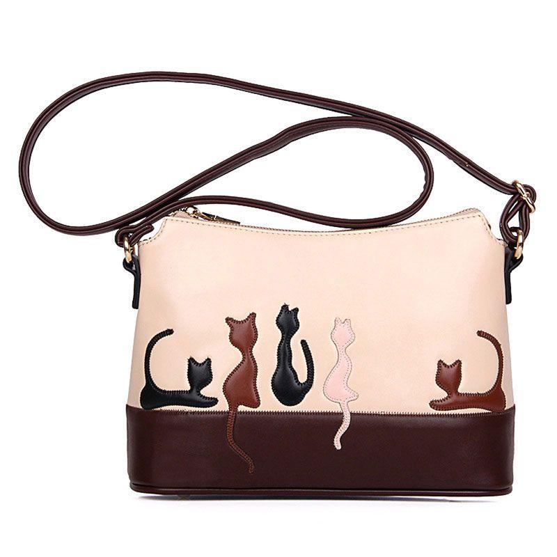 2017 Vintage Cat Printed Shoulder Bags Women PU Leather Handbags Fashion Messenger Crossbody Bag for Women Ladies Bolsa Feminina