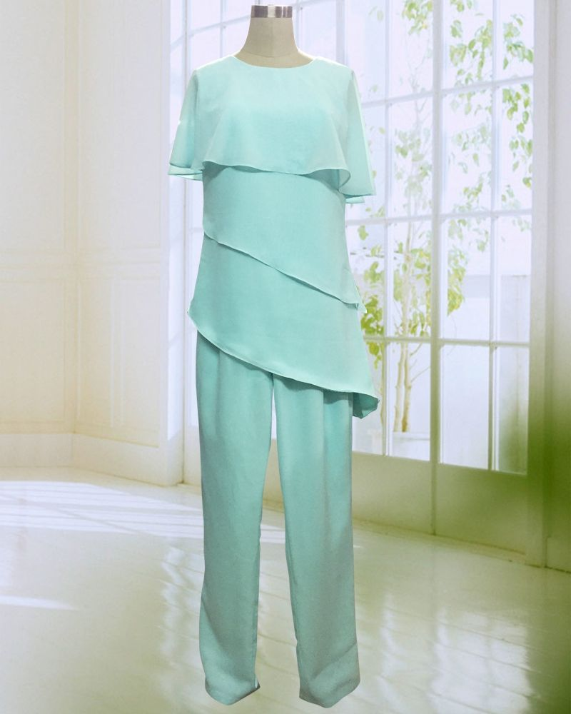 Hot Sale Mother of the Bide Pant Suits Vintage Comfortable Long Chiffon Trousers Set for Summer Wedding 2017
