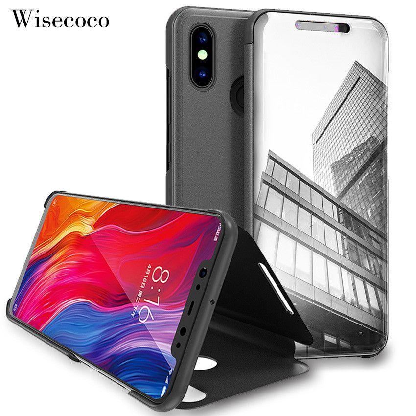 Flip Stand Touch Fall für Xiao mi mi 8 8Se Xioa mi mi 8 Luxus Leder Clear View mi rror 360 volle Abdeckung Fällen für Xio mi 8 Se 128 gb
