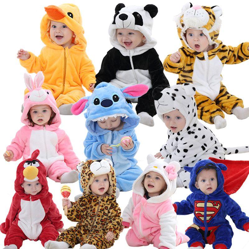 Baby rompers hello kitty <font><b>girls</b></font> clothes new born baby Cartoon pajamas warm winter animal Pajamas roupas de bebe recem nascido YJY