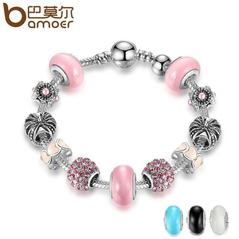 BAMOER 3 color de Alta Calidad de Color de Plata Charm Bracelet & Pink Murano CZ Pulseras y Brazaletes de La Joyería Accesorios PA1901