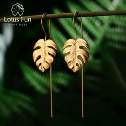Lotus Fun Real 925 Sterling Silver Creative Handmade Design Fine Jewelry 18K Gold Monstera Leaves Drop Earrings for Women Bijoux