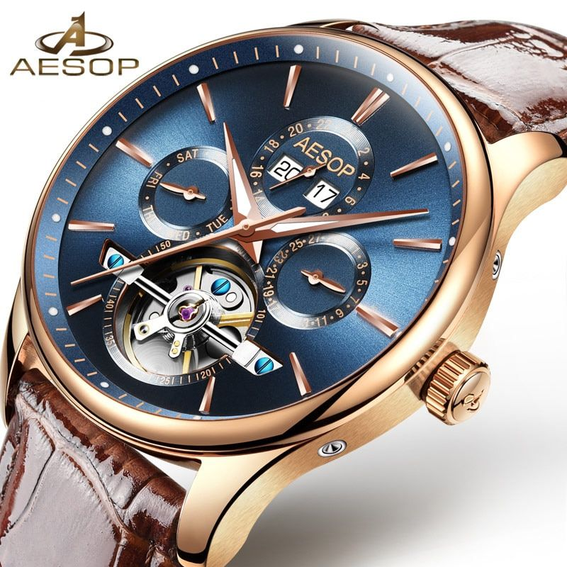 AESOP Brand Fashion Watch Men Automatic Mechanical Shockproof Waterproof Wristwatch Male Clock Relogio Masculino Hodinky New 46