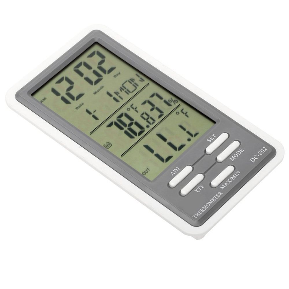LCD Digital Thermometer Hygrometer Temperature Humidity Meter Clock Indoor and Outdoor Use with Wired External Sensor