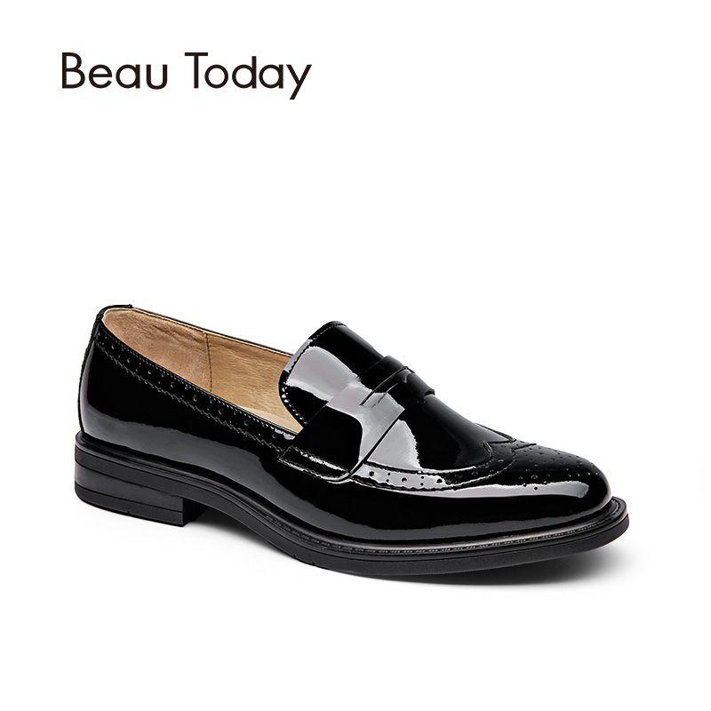 BeauToday Penny Loafer Femmes Véritable Vache En Cuir Ronde Toe Slip On Chaussures Richelieu En Cuir Verni Appartements À La Main 27039
