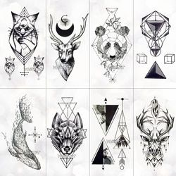 Геометрия Прохладный Временные татуировки Стикеры Для женщин минималистский линии узор Body Art Новый дизайн поддельные Для мужчин татуировк...