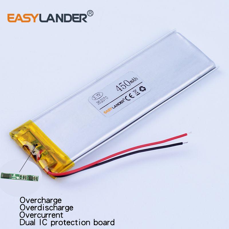3pcs/Lot 352070 3.7V 450mAh Rechargeable li Polymer Li-ion Battery For bluetooth MP3 MP4  GPS PSP speaker toys Mobile phone