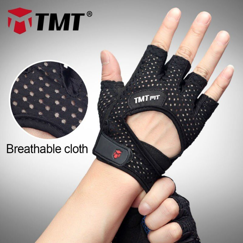 TMT Mesh Breathable Anti-skid Silicone coating Sports Gym Training Barbell Dumbbell Weight Lifting Gym Gloves Fitness Gloves
