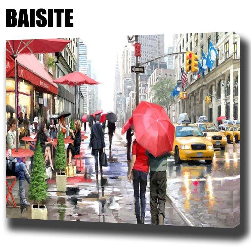 Baisite DIY обрамлении картина маслом по номерам пейзаж Живопись холст для Гостиная стены Книги по искусству Домашний Декор e749