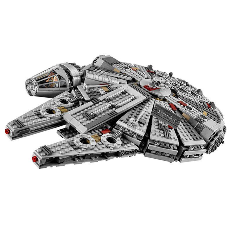 Krieg der sterne 1381 stücke Bausteine spielzeug für Kinder Kraft Weckt Millenniun Falcon Bricks Kompatibel 75105