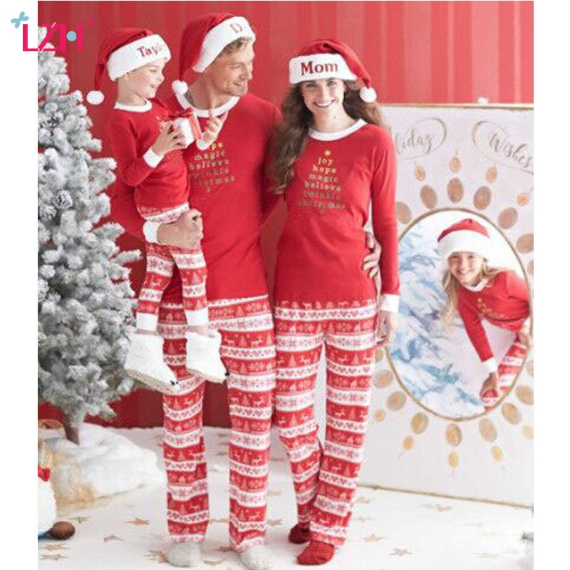 LZH Family Matching Clothes 2017 Winter Family Christmas Pajamas Mother Father Son Outfits Matching Clothes Family Look Clothing