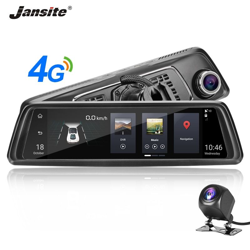 Jansite 4G 10 Touch Screen Auto DVR Dash Cam Android 5.0 GPS Navigation Auto Video Recorder ADAS system Hinten ansicht Kamera Spiegel