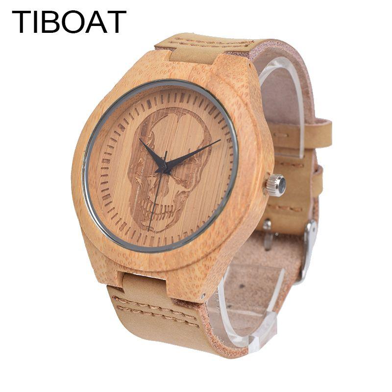 Tiboat Элитный бренд Для мужчин древесины бамбука Часы Для мужчин и Для женщин кварцевые часы Череп Мода Повседневное кожа наручные часы мужск...