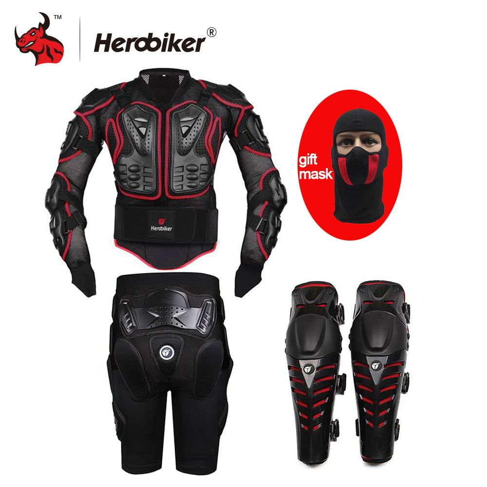 HEROBIKER Motorcycle Armor Moto Body Armor Motocross Armor Motorcycle Jackets+ Gears Short Pants+Protective Motocycle Knee Pad