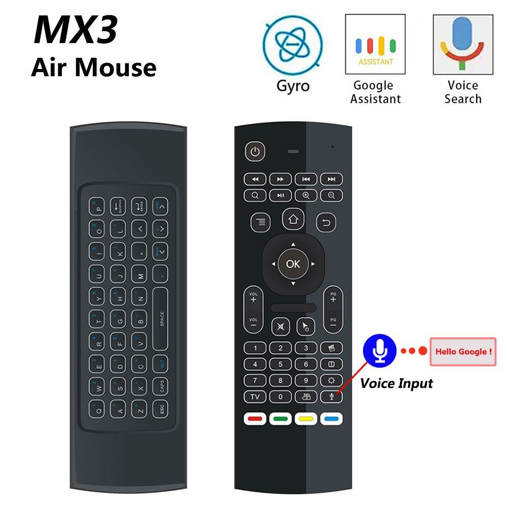 MX3 MX3-L Rétro-Éclairé Air Mouse T3 Smart Voice Télécommande 2.4G RF Sans Fil Clavier Pour X96 mini KM9 A95X h96 MAX Android TV Box