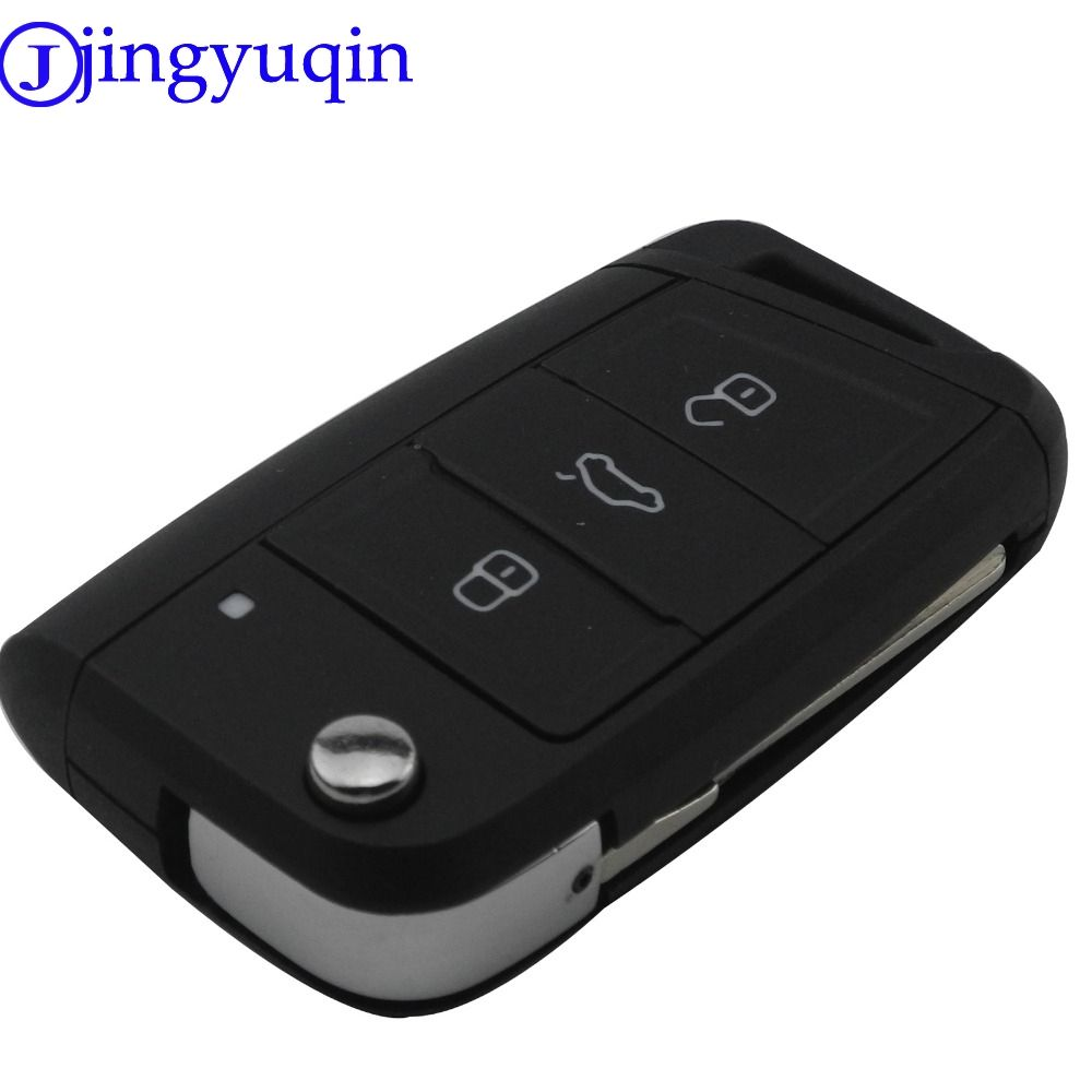 jingyuqin 3 Buttons Modified Folding Flip Remote Car Key Cover Case Fob For VW Golf 7 GTI MK7 Skoda Octavia A7 Seat No Logo