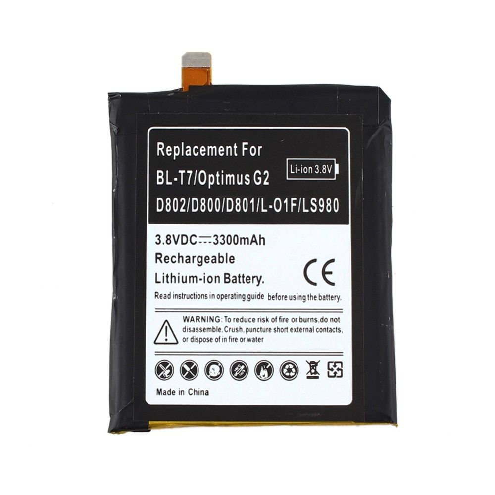 High Capacity 3300mAh Replacement Li-ion Battery For LG Optimus G2 BL-T7 D802 D800 D801 L-01F LS980 Battery