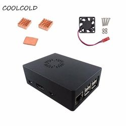 ABS Case Enclosure Box With 1 pcs Cooling Fan Cooling Fan +3 Pcs Copper Heatsink kit With Thermal Pad For Raspberry Pi 3 Model B