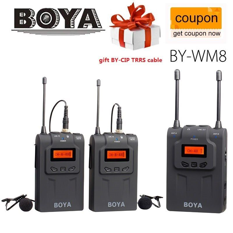 BOYA BY-WM8 UHF Wireless Lavalier Microphone For ENG EFP for Canon Sony DSLR Cameras