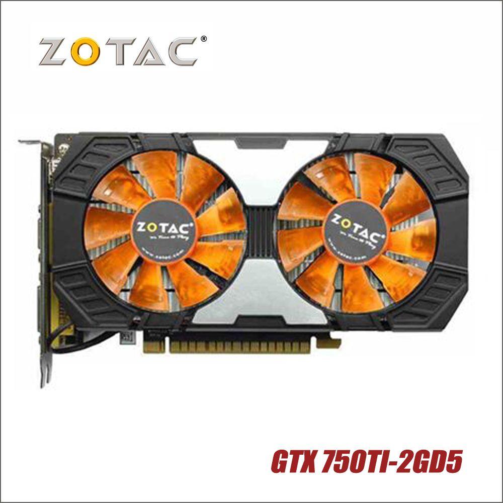 Utilisé d'origine ZOTAC Carte Vidéo GTX 750Ti-2GD5 GDDR5 Cartes Graphiques Pour nVIDIA GeForce GTX750 Ti 2 gb GTX 750 TI 2g 1050ti Hdmi