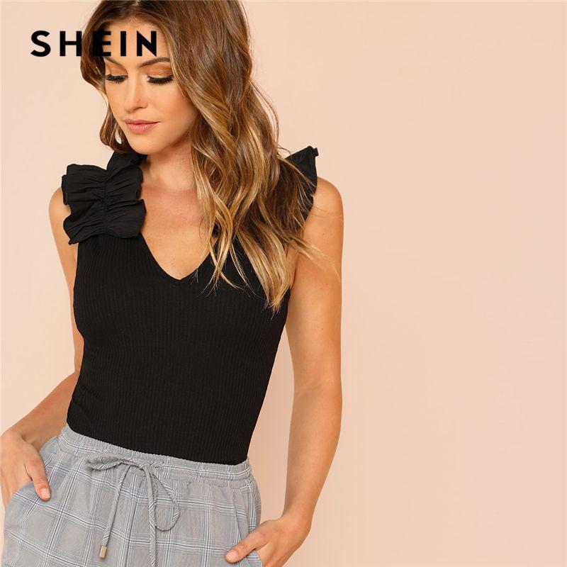 SHEIN Black Elegant Sexy Ruffle Trim Sleeveless Rib Knit V <font><b>Neck</b></font> Tee Summer Women Weekend Casual T-shirt Top