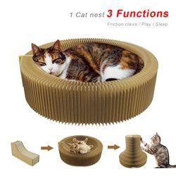 القط هرش كرتون قابل للانهيار القط هرش صالة السرير التفاعلية لعبة القط هريرة الخدش الوسادة لعبة للعب