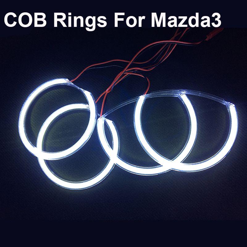 Ultra Bright COB Angel Eyes Halo Rings Kit 4pcs/set Headlights For MAZDA 3 2004 -2008 Years COB Angel Eyes Ring Bulb High Quaity