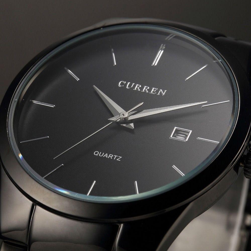 New Top Luxury Brand Quartz Watch Men's Fashion Dress Tag <font><b>Black</b></font> full steel Business Colck Male Simple Casual Wristwatch gift