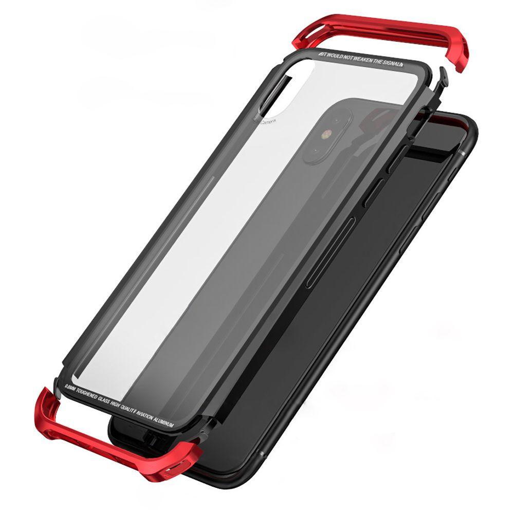 For Apple iPhone X Case Luxury Frame Armor Transparent Glass Slim Metal PC Cover iPhonex Case For Apple iPhone X Cover Case
