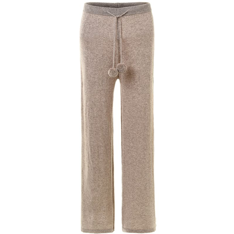 Winter 2017 Super temperament cashmere trousers women knitted wool ball lace wide leg pants women loose warm pants