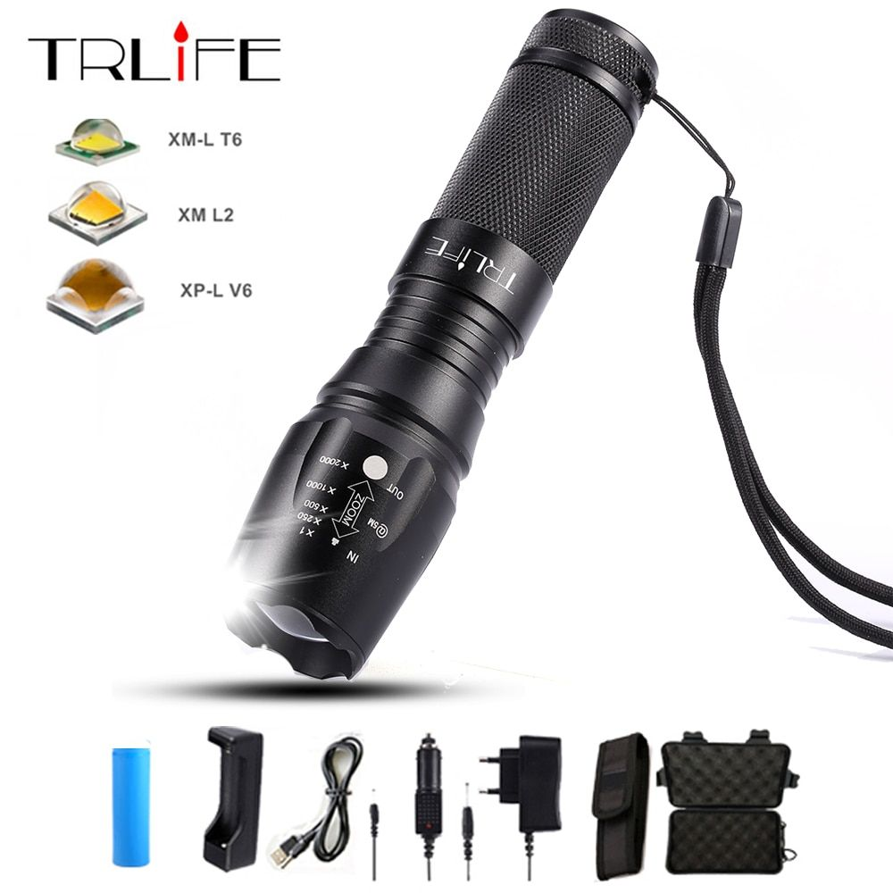 10000 Lumens V6/L2/T6 LED lampes de Poche X800 Zoomables 26650 18650 Tactique lampe de Poche Torche Extérieur Flash Lumière Lampe lanterne AAA