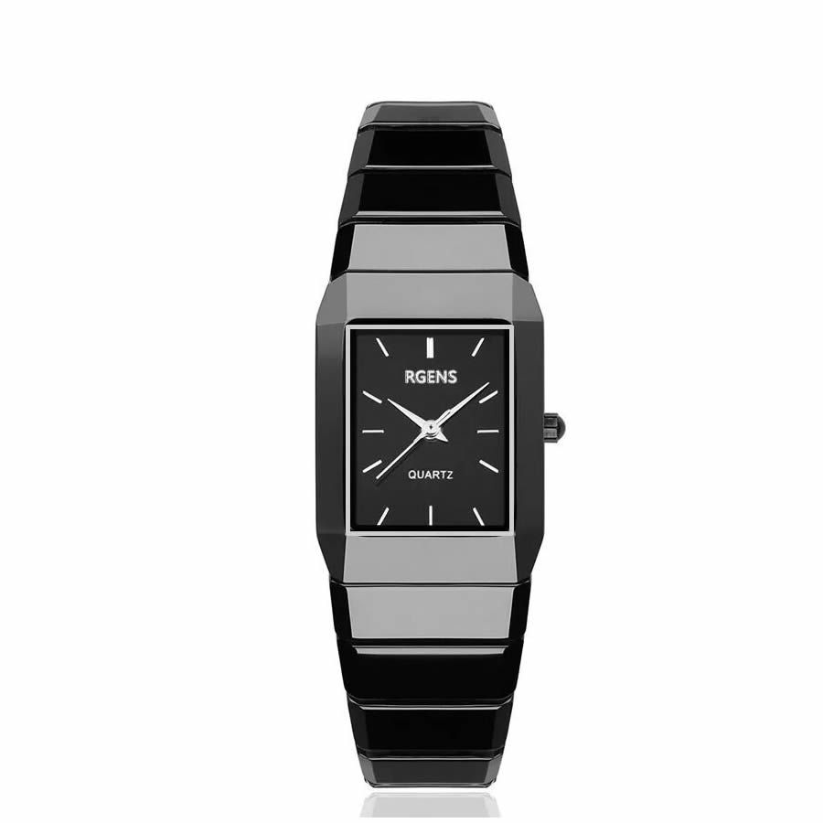 RGENS marke offizielle damen uhren frau armbanduhren schwarz 100% keramik quarz platz luxus frauen uhren 30 mt wasserdicht