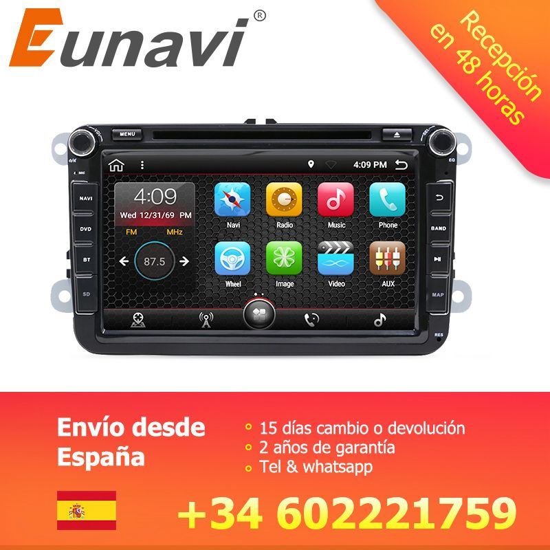 Eunavi 2 Din 8'' Quad core Android 7.1 8.1 car dvd for VW Polo Jetta Tiguan passat b6 cc fabia mirror link wifi Radio CD in dash
