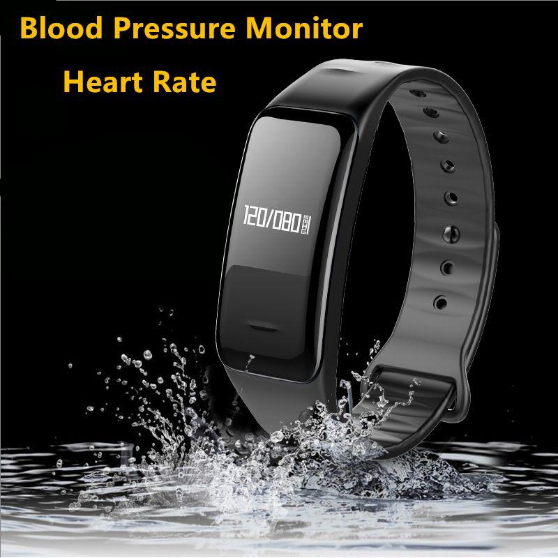 Bluetooth Smart Band Blood Pressure & Heart Rate Monitor Wristband Waterproof Fitness Bracelet Sleep Tracker for Sports Health