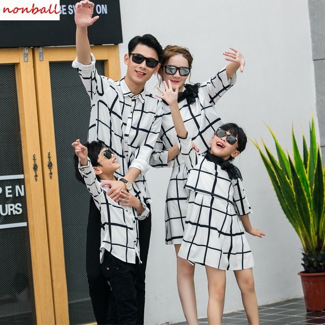 Новое поступление одежда для всей семьи для девочек в клетку для мальчиков рубашка для Отца и Сына платье для Для мамы и дочки платье одежда
