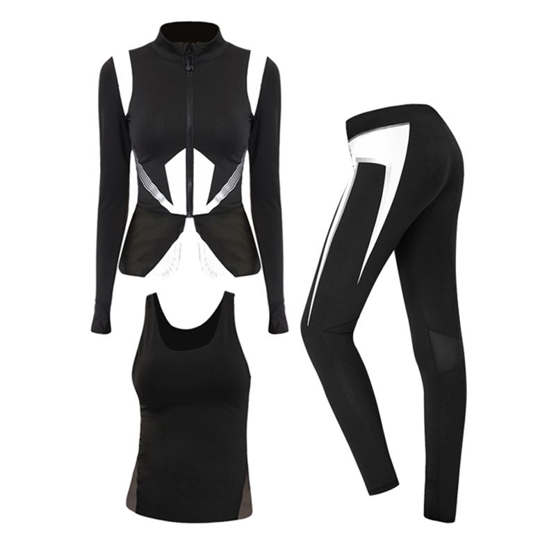 BESGO Sport Anzug Für Weibliche Lauf Jacke & Yoga Sleeveless Shirts & Sport Leggings Hosen Yoga Set Hit Farbe Atmungs sportbekleidung