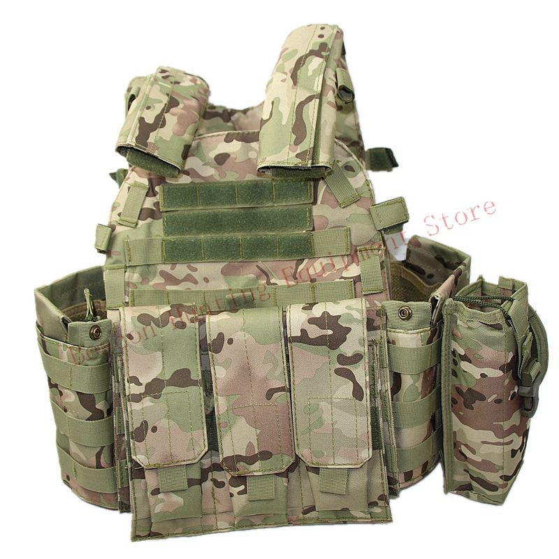 For Hunting Paintball Airsoft Chest Protector Tactical Vest Outdoor Sports Body Armor Camouflage Set Multicam CP Vest