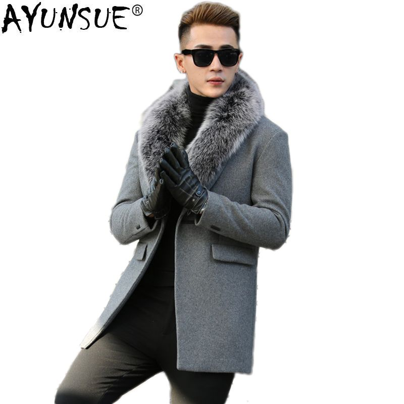 AYUNSUE Wool Coat for Men Autumn Winter Jacket Man Real Fox Fur Collar Plus Size Long Mens Coats and Jackets Manteau Homme KJ817