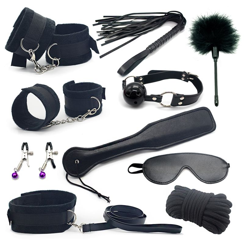 Erotic Toy 10pce/ Set sexy toys Adult Games sex Bondage Restraint,Handcuffs Nipple Clamp Whip Collar sex toys for <font><b>couples</b></font>