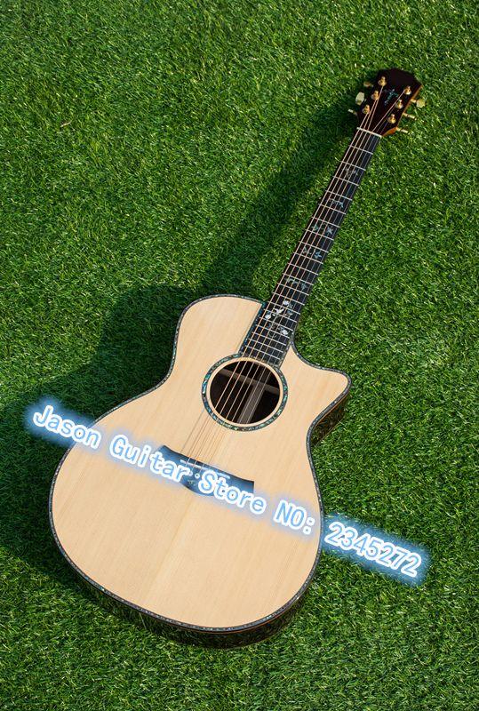 Chinesische fabrik neueste akustische klassische akustikgitarre, AAA massive fichten oben, echt abalone ebenholz griffbrett akustische gitarre,