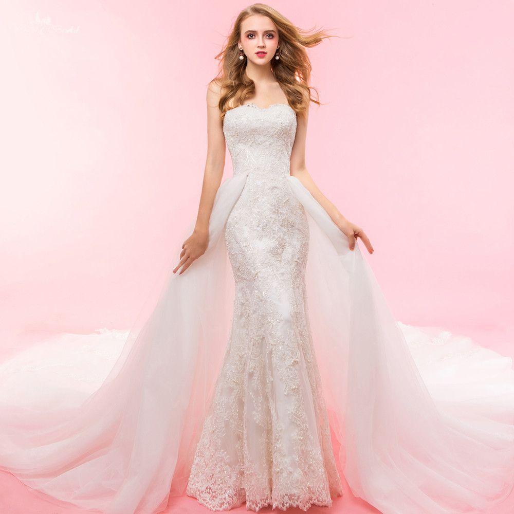 RSW1328 Reale Abbildungen Yiaibridal Zweiteilige Spitze Nixe Abnehmbare Rock Hochzeitskleid
