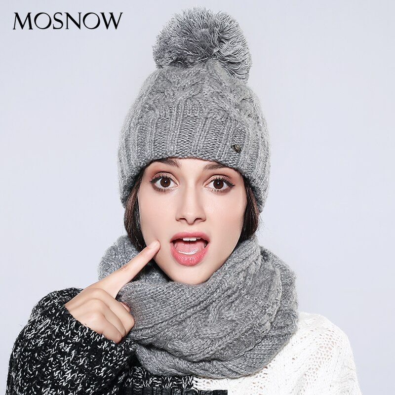 MOSNOW Hat And Scarf Set Women's Winter Fashion 2017 New Cotton Warm Pompom Knitted Warm Female Vogue Bonnet Femme #MZ747