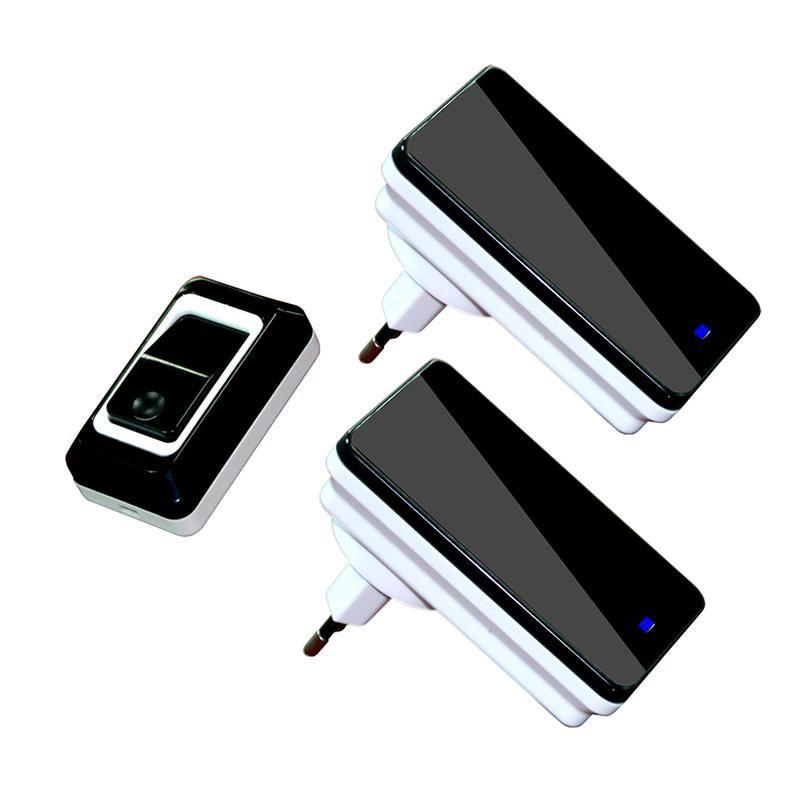 En gros Saful Étanche Tactile LED Porte Cloche UE/US Plug Sans Fil Sonnette kits 1 Push Sonnettes Bouton + 2 récepteurs Pas de Batterie