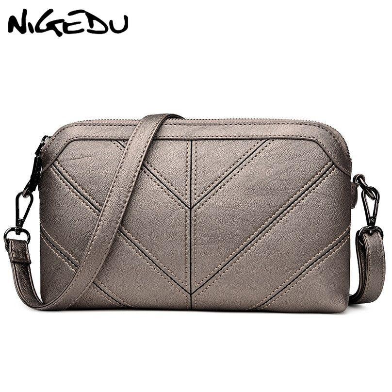 NIGEDU Brand women Messenger bag High quality soft PU Women's shoulder bag Mother gift Crossbody Bags 2018 new Clutches Handbags