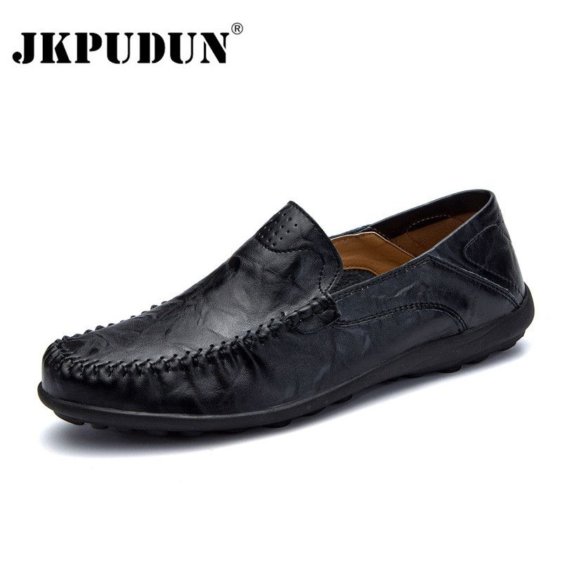 JKPUDUN Hommes Chaussures Casual Marque De Luxe Italien Mens Mocassins En Cuir Véritable Mocassins Souples Confortables Respirant Glissement sur des Chaussures D'entraînement