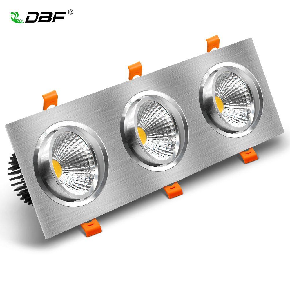 [DBF] Angle réglable plafond encastré Downlight haute Lumen 3 têtes carré Spot lumière Dimmable 15W 21W 30W 36W avec pilote de LED