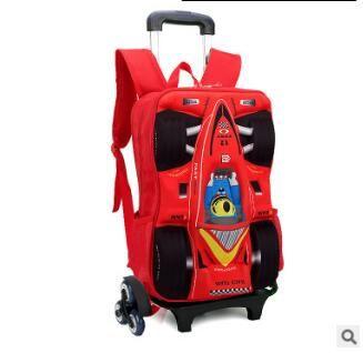 kid School Backpack On wheels Trolley School bag for boy kid's luggage car Trolley Rolling Bag Children School Backpack for kids
