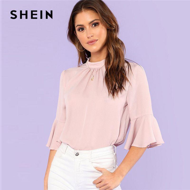 SHEIN Pleated Detail Keyhole Back Flounce Sleeve Top 2018 Summer Half Sleeve Stand Collar Blouse Women Ruffle <font><b>Elegant</b></font> Blouse